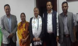Prof. Dhakal with Hon. Minister Chitra Lekha Yadav with executive team members of  Ministry for Education, Nepal